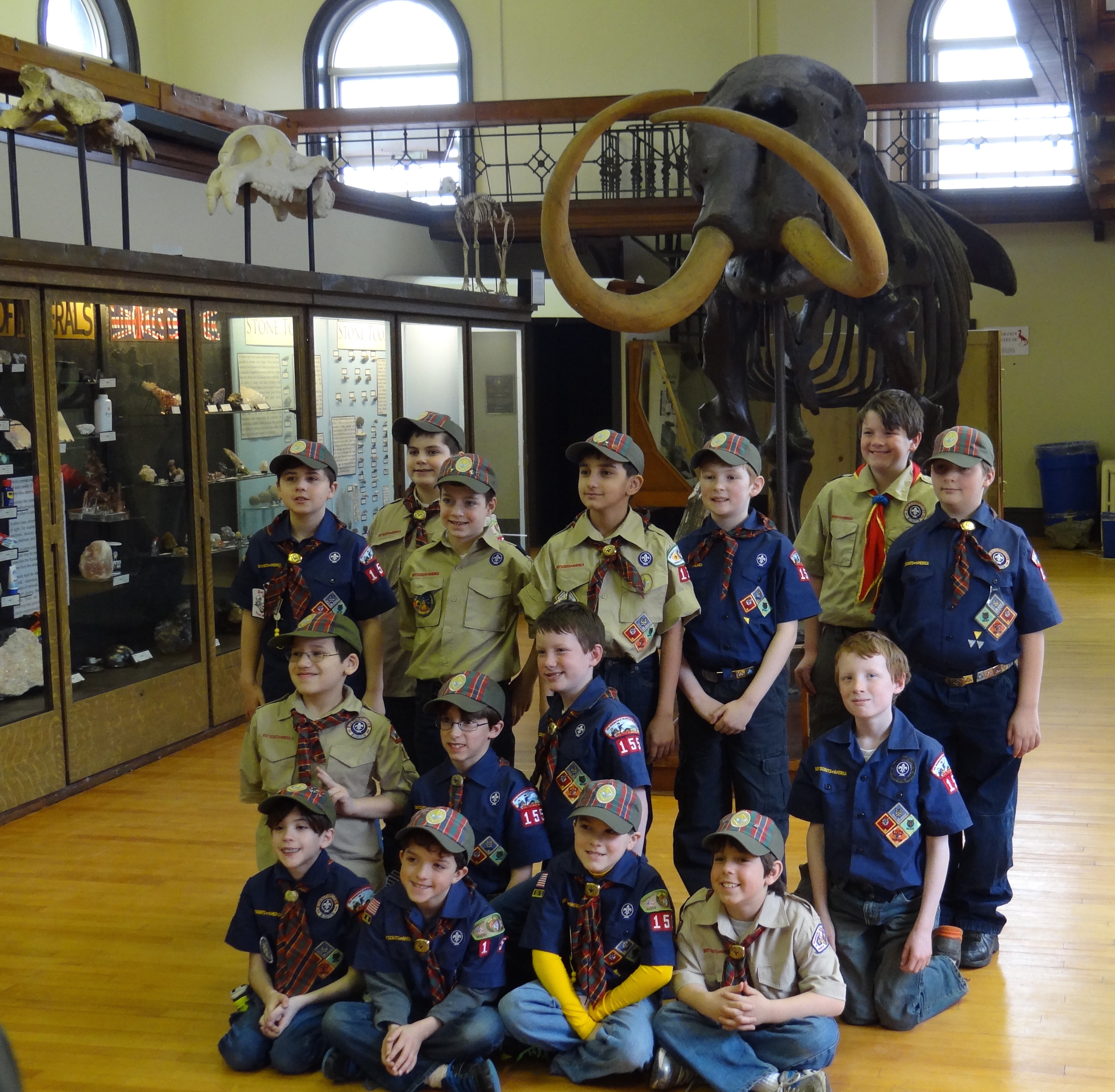 Photo of a boy scout group touring the Museum.