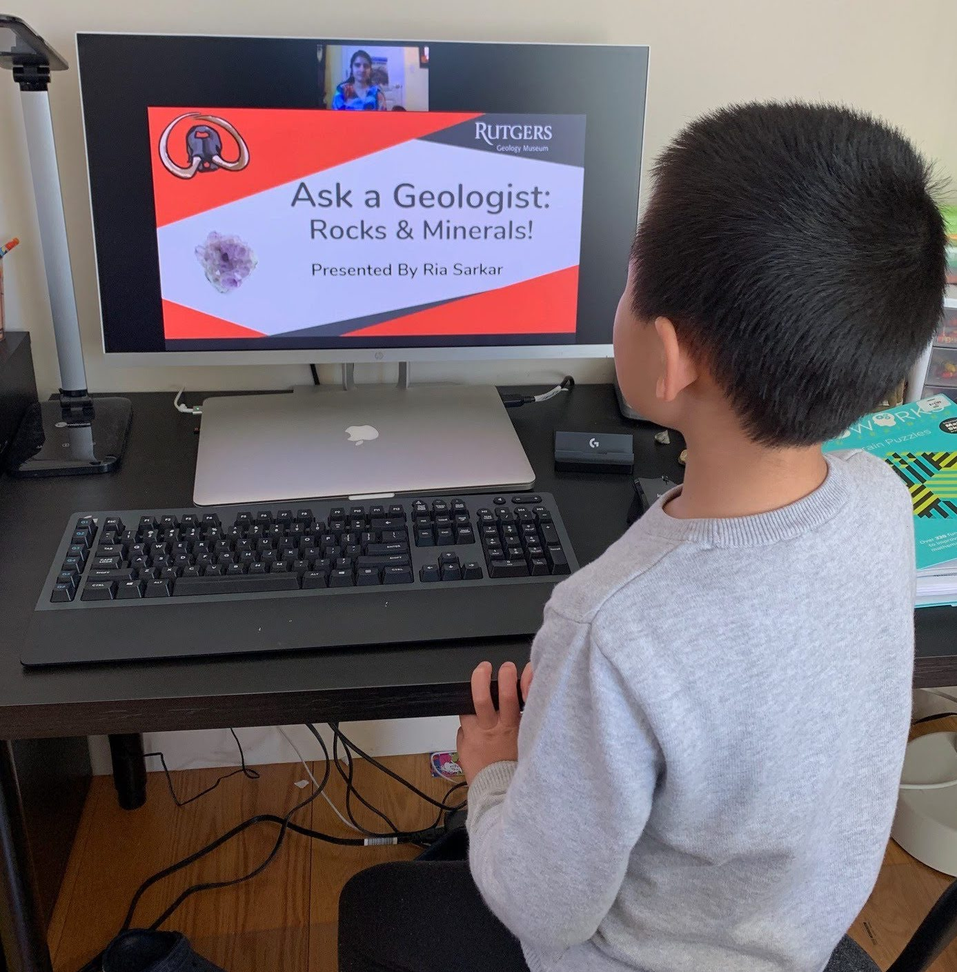 Photo of a Child Watching the first 'Ask A Geologist' Event